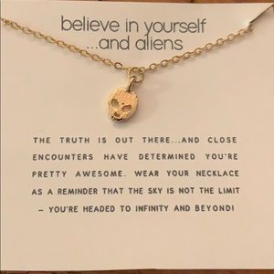"""Believe in yourself and aliens"" gold necklace"